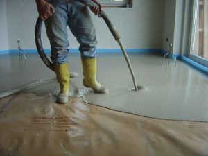application of screeding to a floor